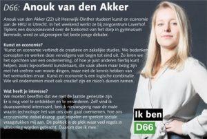 Ik ben D66! Anouk van den Akker uit Heeswijk-Dinther