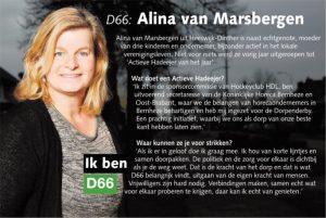 Ik ben D66! Alina van Marsbergen uit Heeswijk-Dinther