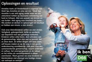Ik ben D66! Annelies Aarts uit Vorstenbosch: Oplossingen en resultaat