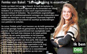Ik ben D66! Femke van Bakel uit Heesch: Samenwerking is essentieel