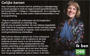 Ik ben D66! Mary Oosterwijk uit Heesch: Gelijke kansen