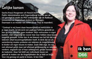 Ik ben D66! Sascha Kraus-Hoogeveen uit Heesch: Gelijke kansen