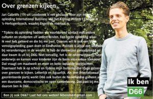 Ik ben D66! Jari Gabriëls uit Loosbroek: Over grenzen kijken