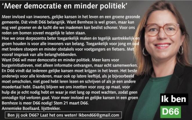 Ik ben D66! Annemieke Boellaard, onze lijsttrekker: Meer democratie en minder politiek