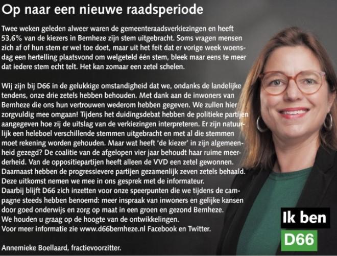 Ik ben D66! Annemieke Boellaard: Op naar een nieuwe raadsperiode