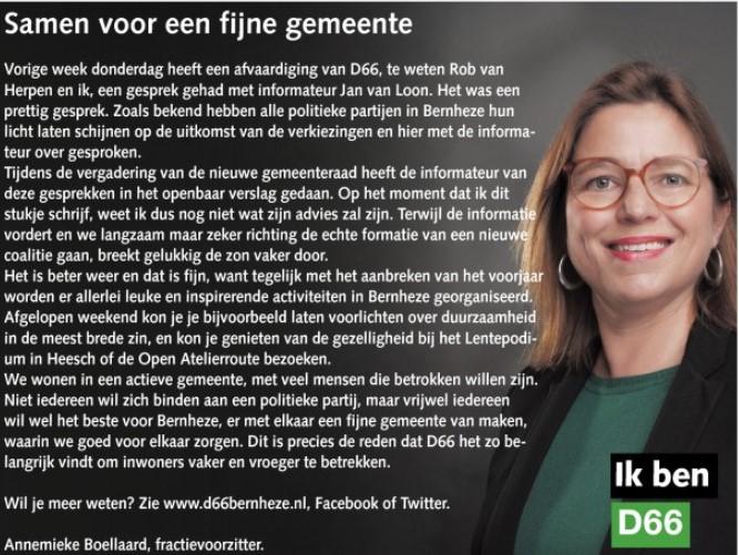 Ik ben D66! Annemieke Boellaard: Samen voor een fijne gemeente