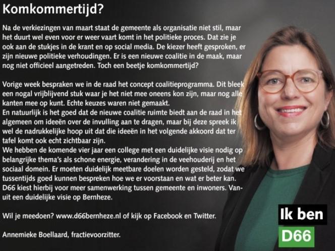 Ik ben D66! Annemieke Boellaard: Komkommertijd?