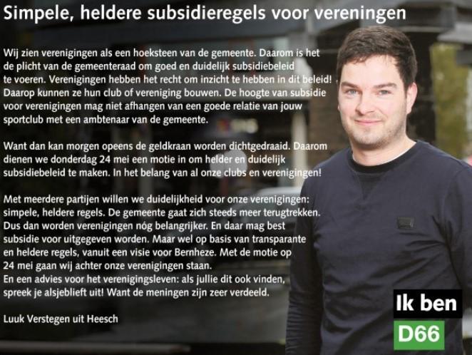 Ik ben D66! Luuk Verstegen: Simpele, heldere subsidieregels voor verenigingen