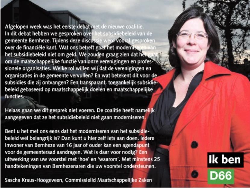 Ik ben D66! Sascha Kraus - Hoogeveen, Commissie Maatschappelijke Zaken