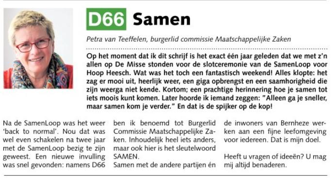 Ik ben D66! Petra van Teeffelen: Samen
