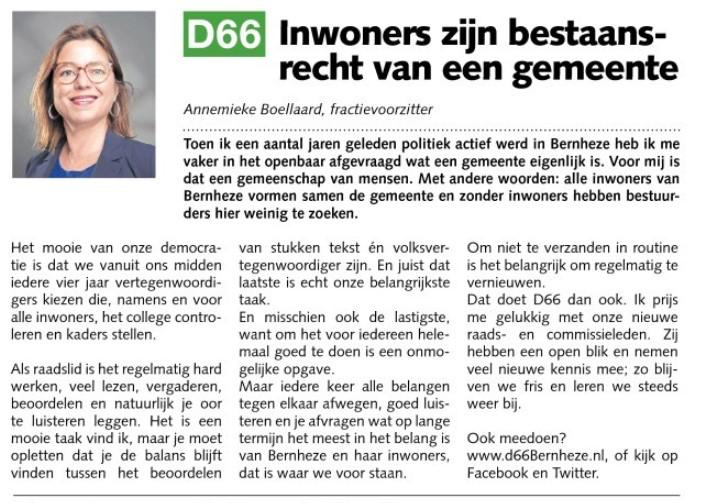 Ik ben D66! Annemieke Boellaard: Inwoners zijn bestaansrecht van een gemeente