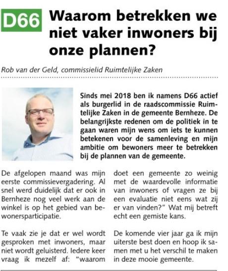 Ik ben D66! Rob van der Geld: Waarom betrekken we niet vaker inwoners bij onze plannen?