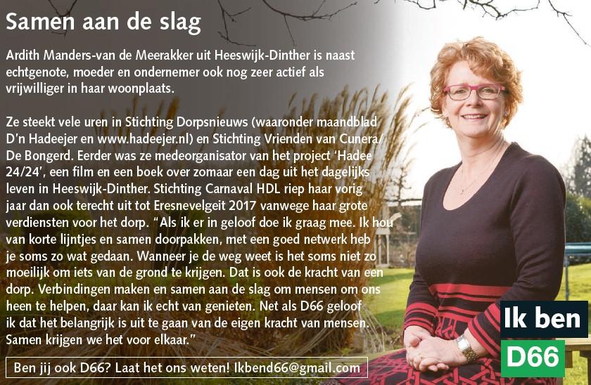 Ik ben D66! Ardith Manders-van de Meerakker uit Heeswijk-Dinther: Samen aan de slag