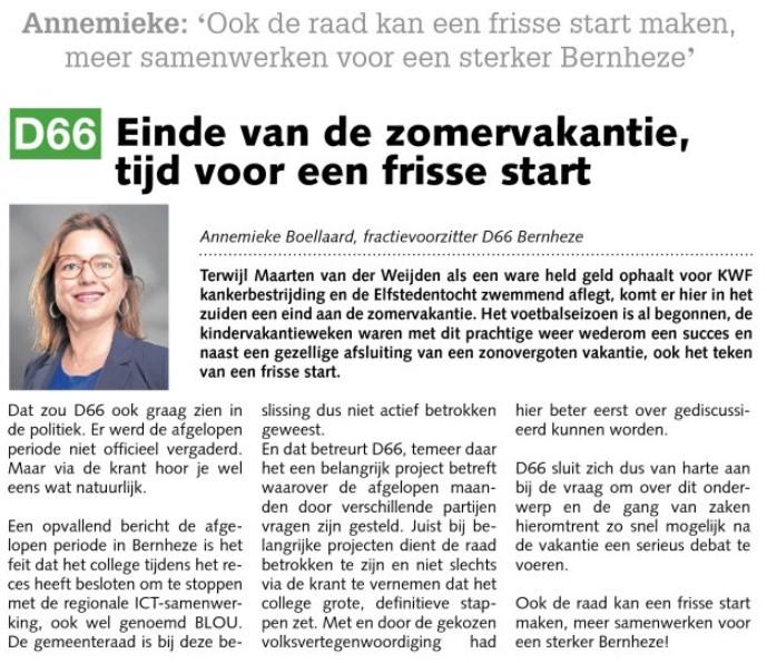 Ik ben D66! Annemieke Boellaard: Einde van de zomervakantie, tijd voor een frisse start