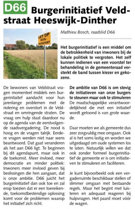 Ik ben D66! Mathieu Bosch: Burgerinitiatief Veldstraat Heeswijk-Dinther