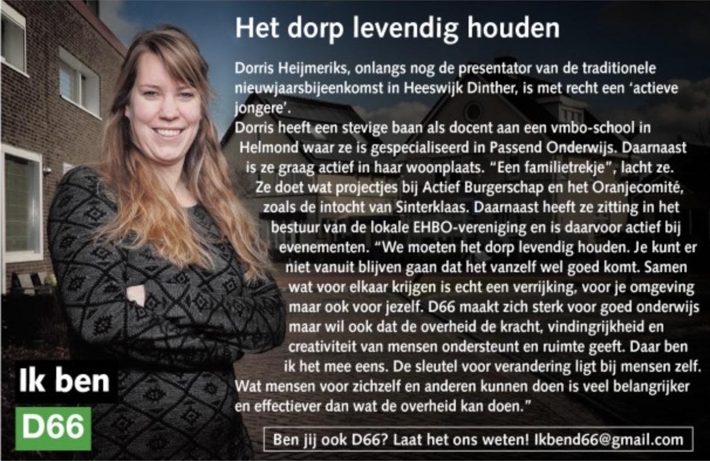 Ik ben D66! Dorris Heijmeriks: Het dorp levendig houden