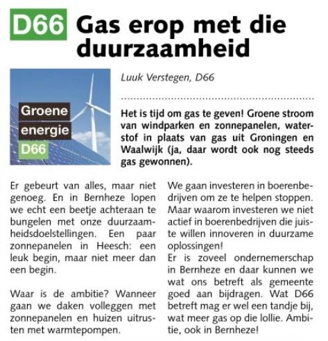 Luuk Verstegen, raadslid: Gas erop met die duurzaamheid