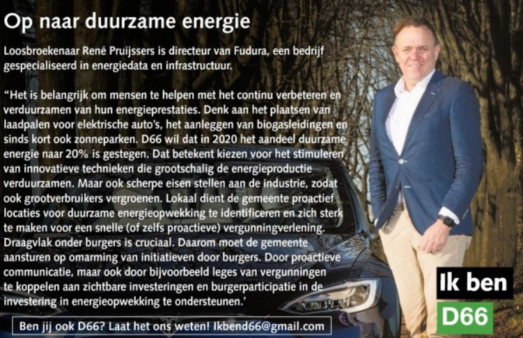 Ik ben D66! René Pruijssers uit Loosbroek: Op naar duurzame energie