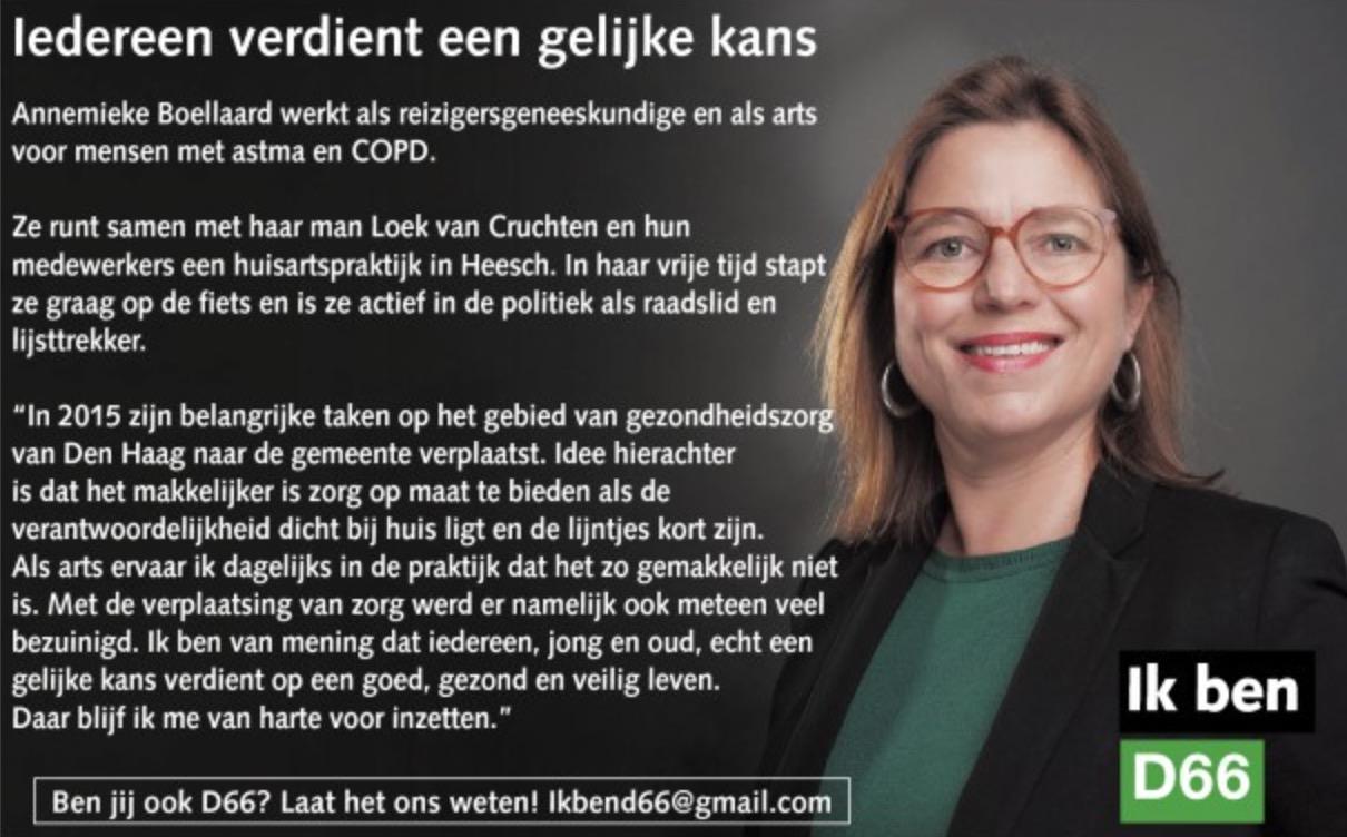 Ik ben D66! Annemieke Boellaard, onze lijsttrekker: Iedereen verdient een gelijke kans