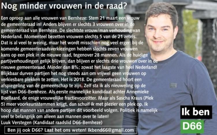 Ik ben D66! Luuk Verstegen uit Heesch: Nog minder vrouwen in de raad?