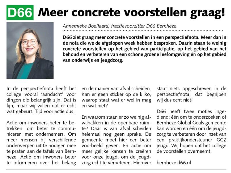 Annemieke Boellaard: Meer concrete voorstellen graag!