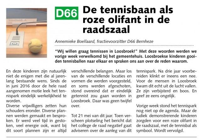 Annemieke Boellaard: De tennisbaan als roze olifant in de raadszaal