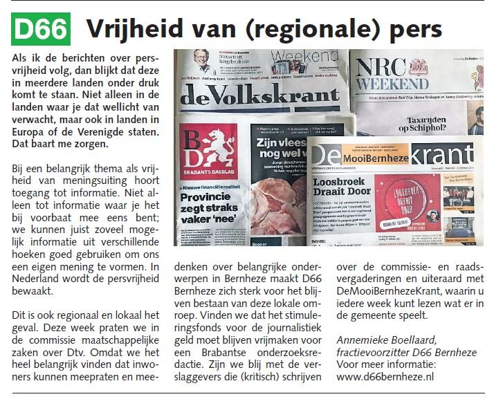 Annemieke Boellaard: Vrijheid van (regionale) pers