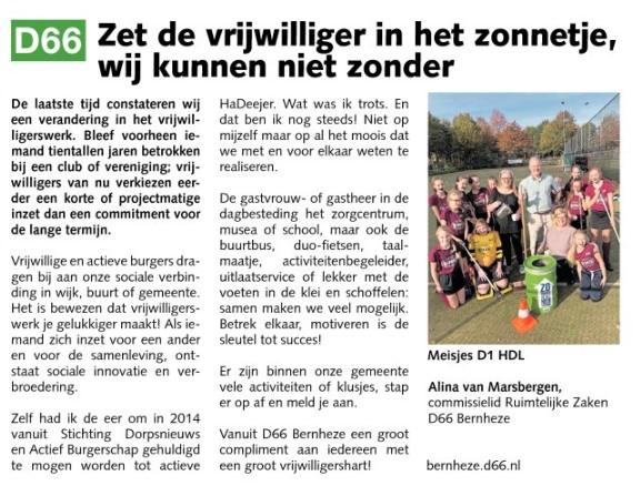 Alina van Marsbergen: Zet de vrijwilliger in het zonnetje, wij kunnen niet zonder