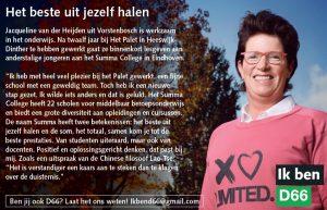 Ik ben D66! Jacqueline van der Heijden uit Vorstenbosch: Het beste uit jezelf halen