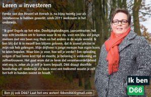 Ik ben D66! Femke van den Heuvel uit Heesch: Leren = investeren