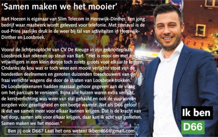 Ik ben D66! Bart Hoezen uit Heeswijk-Dinther: Samen maken we het mooier