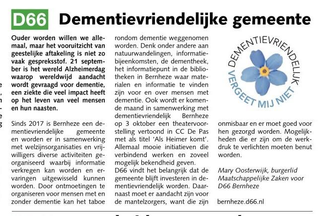 Mary Oosterwijk: Dementievriendelijke gemeente